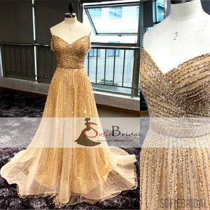 Off Shoulder Rhinestone Beaded A-line Prom Dresses, Sparkle Evening Dresses, PD0401