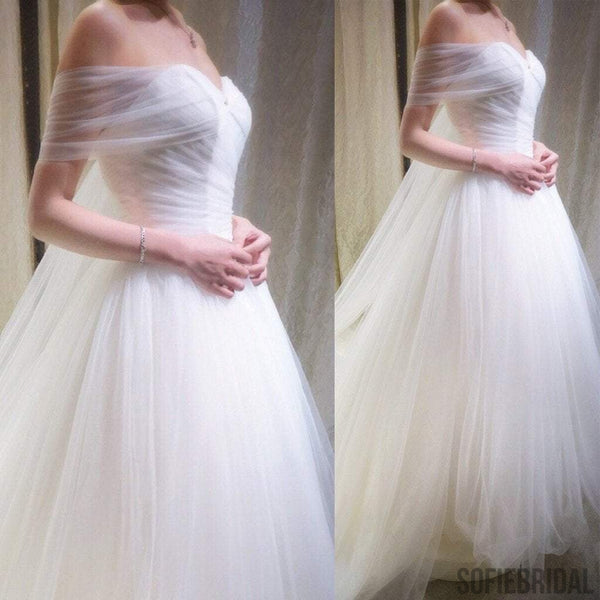 Simple Design Off Shoulder Long A-line White Tulle Wedding Dresses, WD0174