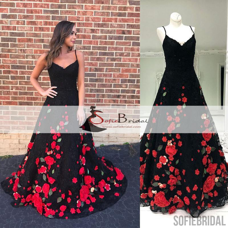 Black Lace Handmade Flowers Prom Dresses, A-line Prom Dresses, Lovely Prom Dresses, PD0464