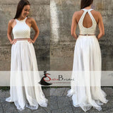 White Beaded Top Tulle A-line Prom Dresses, Lovely Open Back Prom Dress, Prom Dresses, PD0469