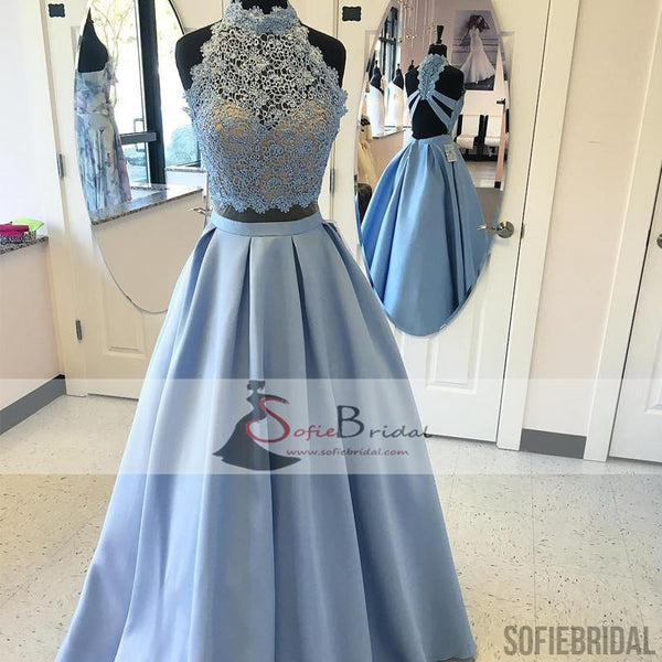 Lovely Lace Beaded Prom Dresses, Satin Prom Dresses, High Neck Prom Dresses, PD0413