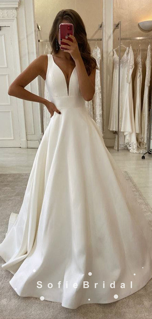 Simple A-Line Straps Sleeveless Cheap Long Wedding Dresses Online,SFWD0004