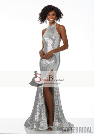 Halter Sequin Beaded Long Mermaid Side Slit Prom Dresses, Sexy Prom Dresses, PD0379