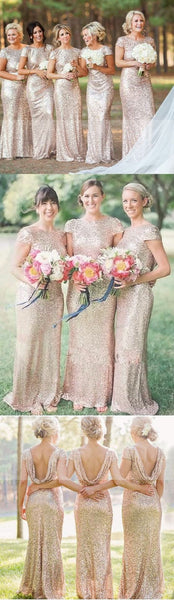 Best Sale Cap Sleeve Gold Sequin Bridesmaid Dress, Mermaid Bridesmaid Dress, WD0251