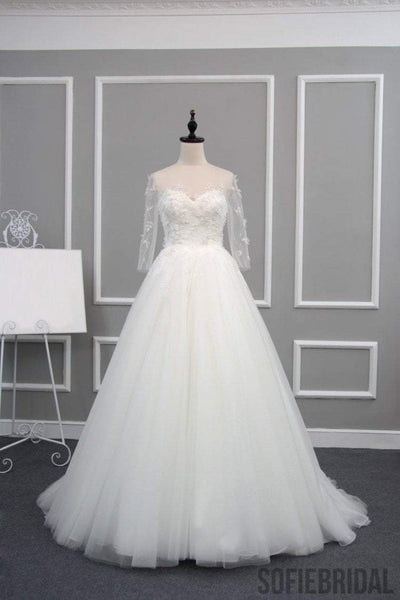 New Arrival Half Sleeve A-line Lace Tulle Zip Up Wedding Dresses, Popular Bridal Gown, WD0235