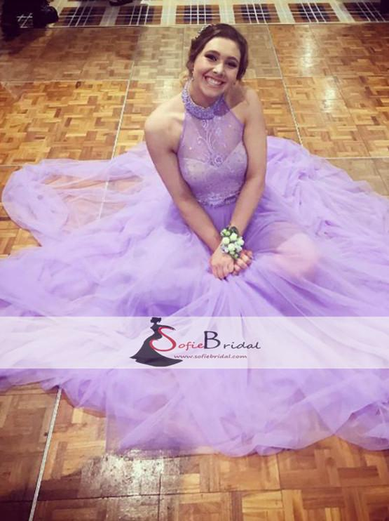 Lilac Halter Lace Tulle A-line Prom Dresses,  Cheap Prom Dresses, Lovely Prom Dresses, PD0457