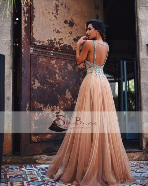 Simple Elegant Tulle Beaded Prom Dresses, Backless Prom Dresses, Cheap Prom Dresses, PD0414
