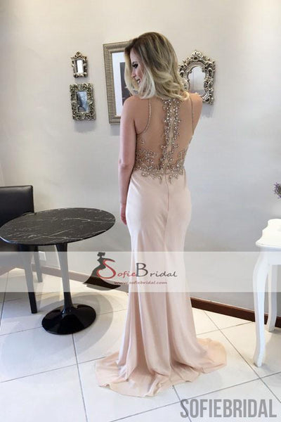 Lovely Rhinestone Beaded Long Mermaid Prom Dresses, See Through Prom Dresses, PD0444