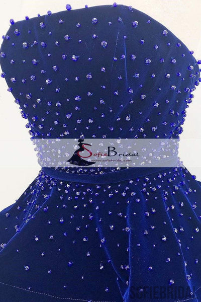 Navy Blue Straight Velvet Beaded Prom Dresses, Lovely Long Prom Dresses, Prom Dress, PD0461