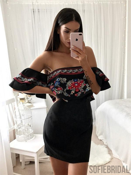 Off-shoulder Sheath Embroidery Black Satin Homecoming Dress, HD0126