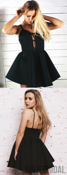 A-Line Spaghetti Straps Black Satin Short Homecoming Dress, HD0142