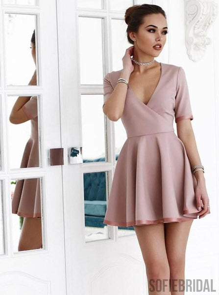 A-line V-neck Short Sleeves Cheap Homecoming Dress With Ruffles, HD0175