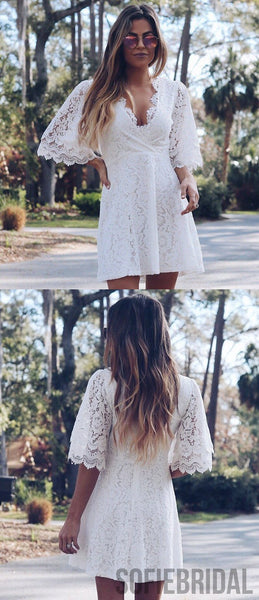 A-line V-neck Full Lace Half Sleeves Short Homecoming Dress, HD0176