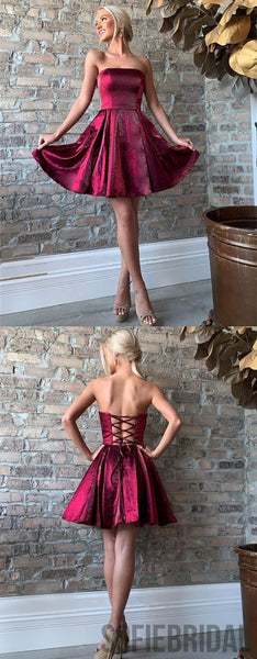 Strapless A-line Sleeveless Lace-up Back Short Homecoming Dress, HD0134