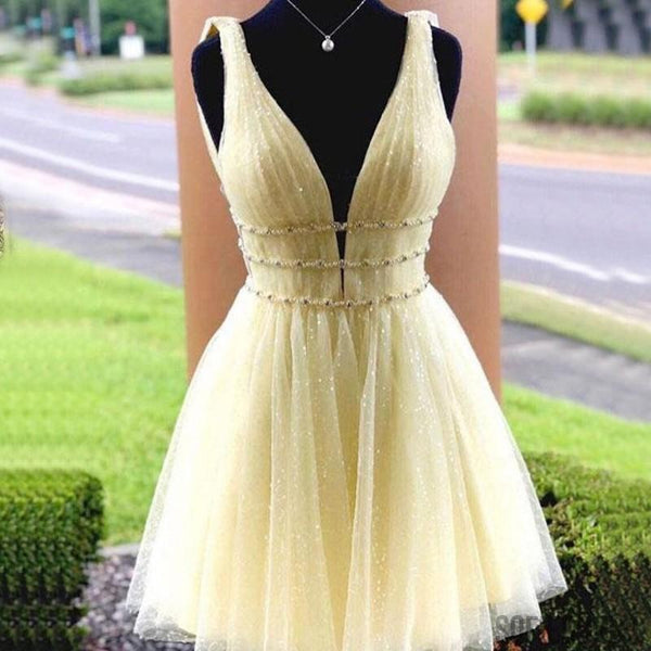 A-line V-neck Sparkly Yellow Tulle Beading Short Homecoming Dress, HD0167