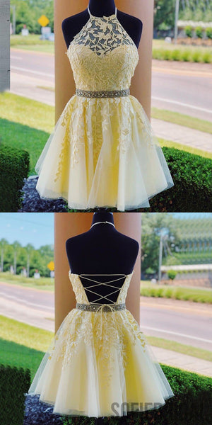 Halter Strapless Appliques Beading Lace-up Back Homecoming Dress, HD0169
