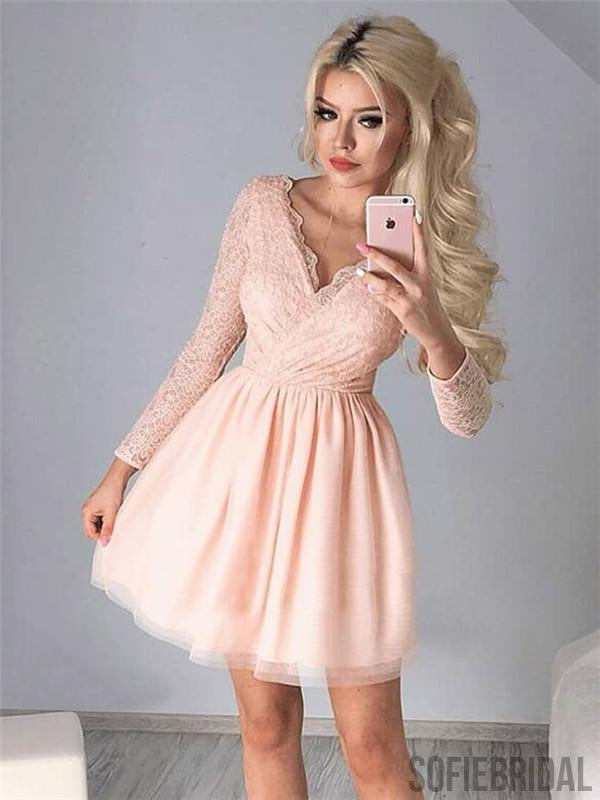 A-line V-neck Long Sleeves Lace Top Short Homecoming Dress, HD0178