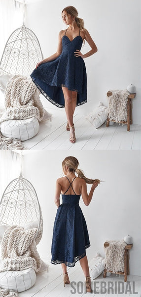 A-Line Spaghetti Straps V-neck Navy Blue Lace Homecoming Dress, HD0125