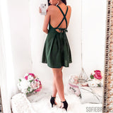 A-line Spaghetti Straps Backless Short Chiffon Homecoming Dress, HD0140