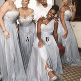 Mismatched Rhinestone Shinny Top Light Grey Long A-line Side Slit Bridesmaid Dresses, PD0301