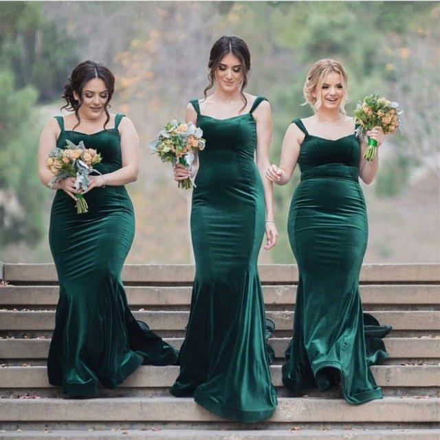 Long Elegant Green Velvet Strap Mermaid Bridesmaid Dresses, Popular Bridesmaid Dresses , PD0303