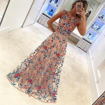 Scoop Neckline Floral See Through Gorgeous 2017 Long Prom Dresses, PD0270