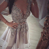 Grey gorgeous v-neck sexy unique formal homecoming prom gown dresses, SF0075