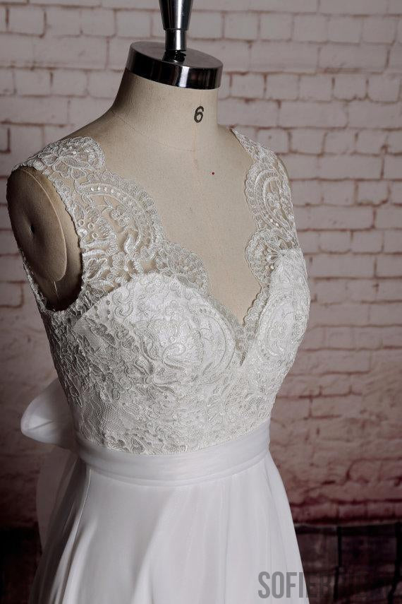 Lace Back Bow V Neck Cheap Beach Wedding Dresses Online, WD383