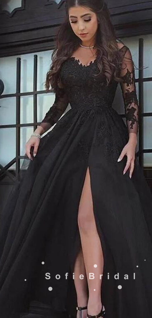 A-Line Long Sleeves Black Tulle Split Side Prom Dresses With Lace,SFPD0043