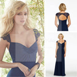 Cap Sleeve Open Back Lace Sweet Heart Chiffon Navy Blue Formal Cheap Bridesmaid Dresses, WG43