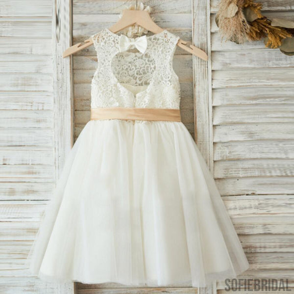Illusion Lace Top Open Back Lovely Flower Girl Dresses,  Cheap Little Girl Dresses, FG078