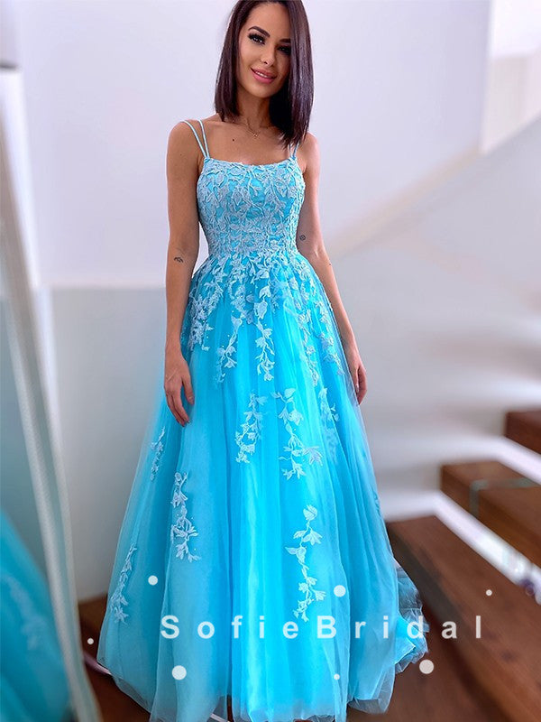 A-Line Spaghetti Straps Blue Tulle Long Prom Dresses With Lace,SFPD0044