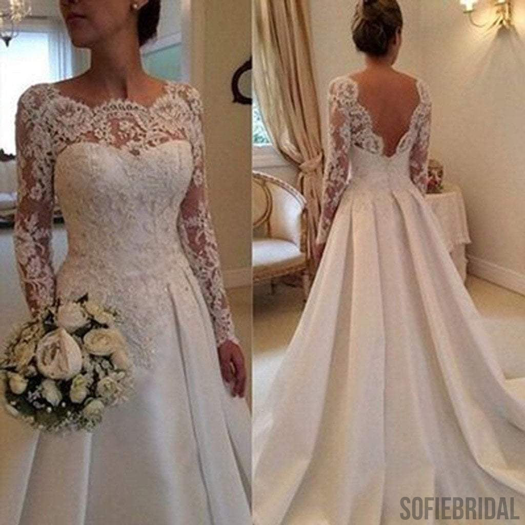 Long a line full length round neck long sleeve lace top satin long a line full length round neck long sleeve lace top satin wedding party dresses junglespirit Image collections