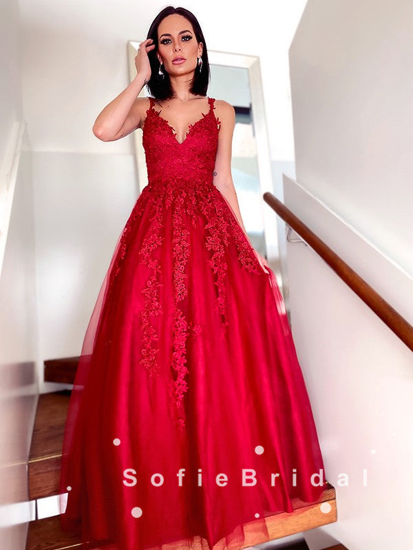 A-Line V-Neck Spaghetti Straps Red Tulle Long Prom Dresses With Lace,SFPD0045
