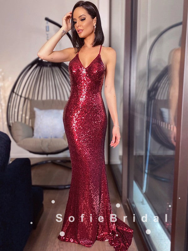Mermaid V-Neck Spaghetti Straps Sequined Long Prom Dresses,SFPD0046