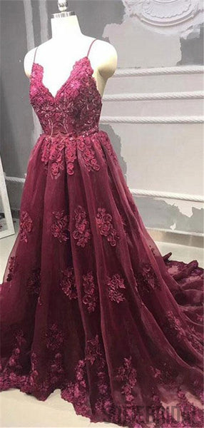 Straps V-neck Backless Burgundy Lace Appliques Prom Dresses, PD0078