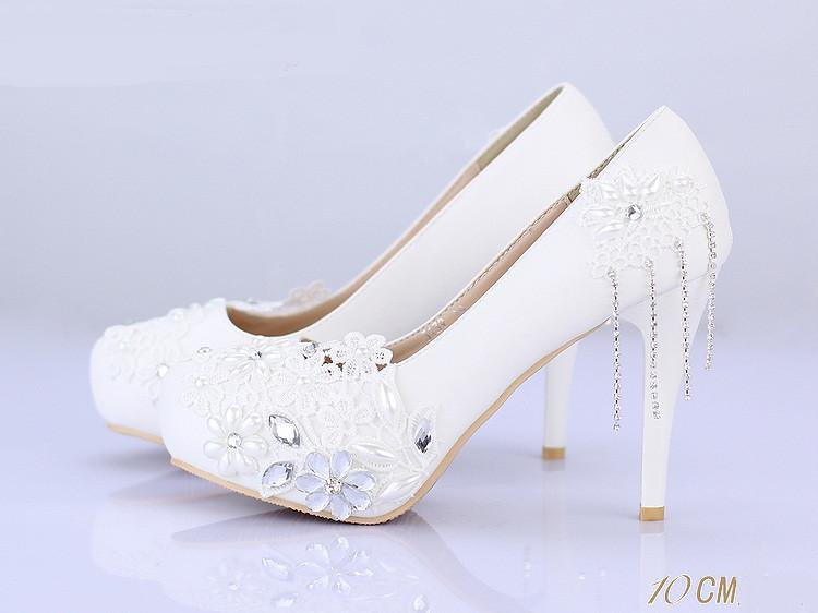 Lace Pearls Women Wedding Bridal Shoes With Pointed Toes, S019