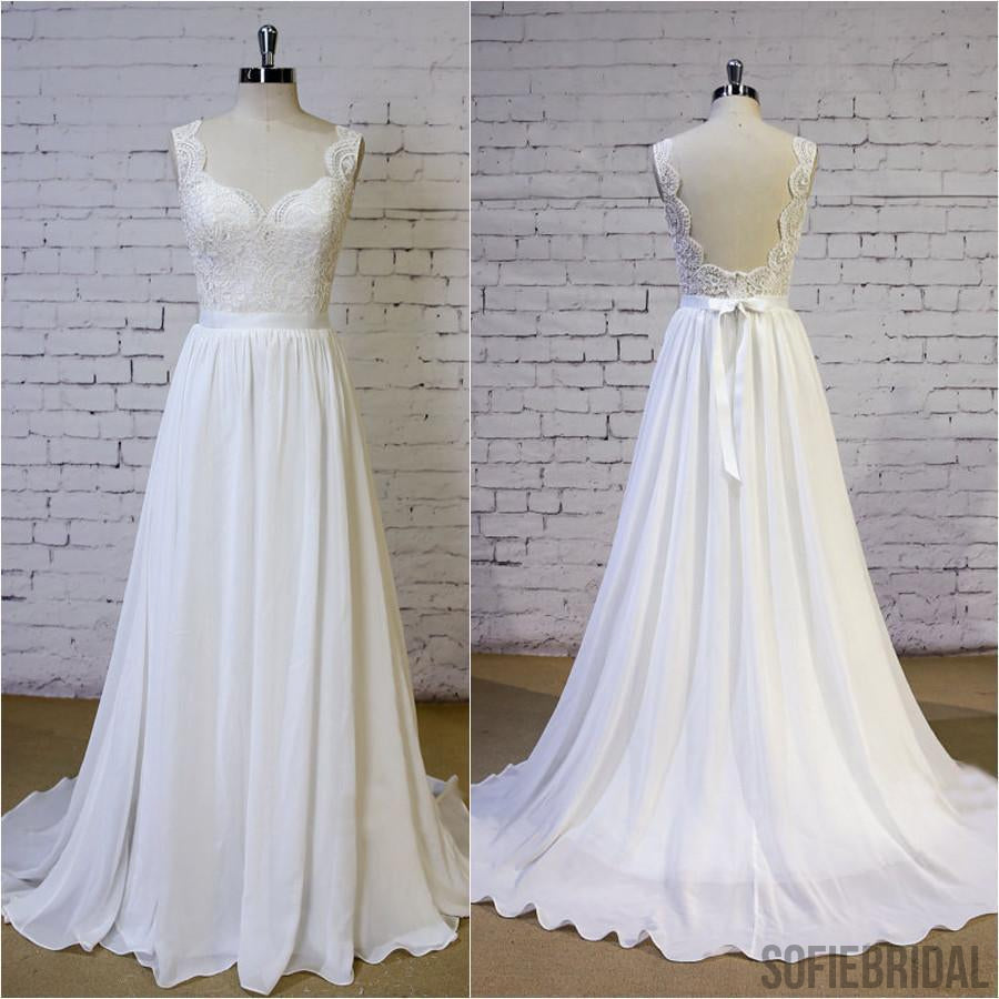 Cheap Backless V Neck Lace Straps Simple Beach Wedding Dresses, WD325