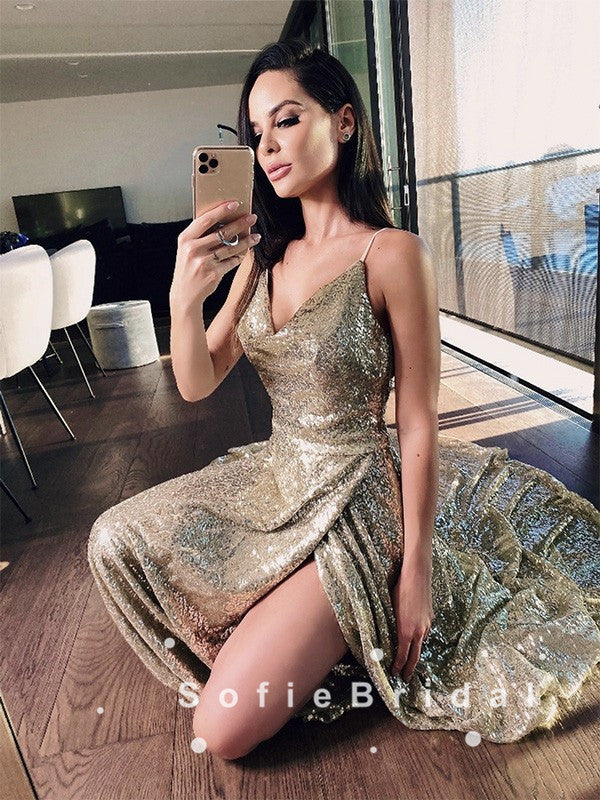A-Line Spaghetti Straps Cowl Neckline Gold Long Prom Dresses With Slit,SFPD0047