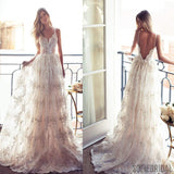 Long A-line Spaghetti V-back Sexy Lace Bridal Gown, Wedding Party Dress, WD0046