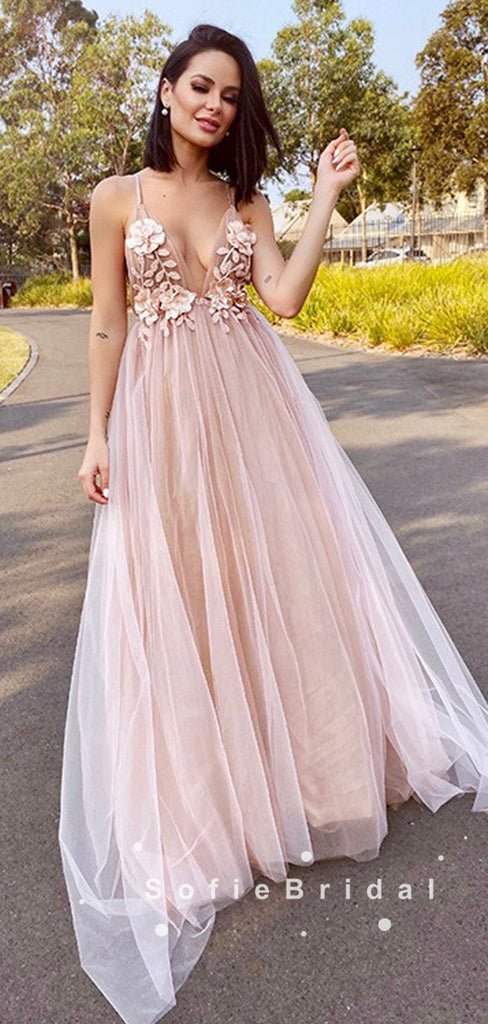 A-Line Deep V-Neck Spaghetti Straps Tulle Prom Dresses With Appliques,SFPD0048