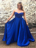 Royal Blue Sweetheart Prom Dresses, A-line Prom Dresses, Cheap Prom Dresses, PD0638