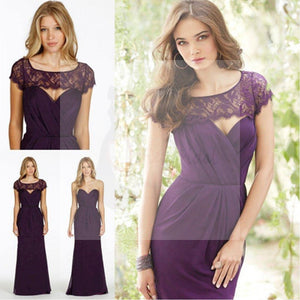 Lace Chiffon Sweet Heart Backless A Line Formal Floor-Length Purple Cap Sleeve Cheap Bridesmaid Dresses, WG48