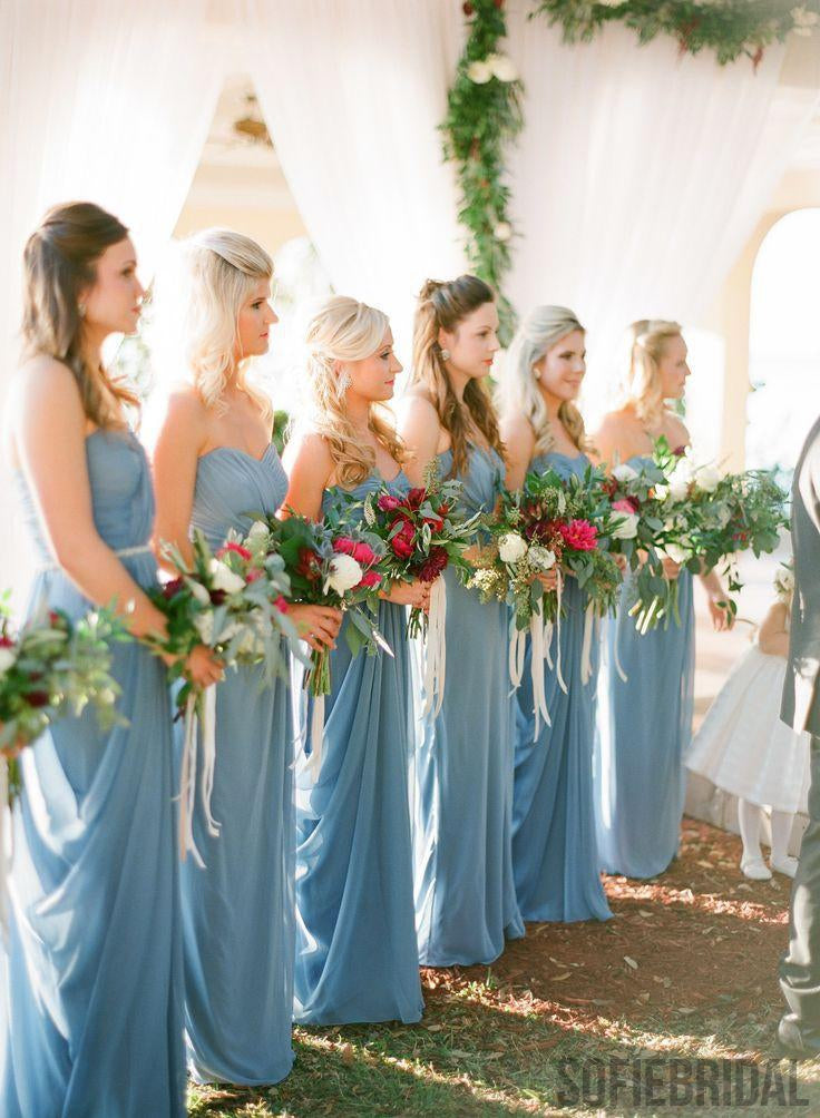 Blue Chiffon Bridesmaid Dresses, Wedding Guest Dresses, Long Bridesmaid Dresses, PD0359