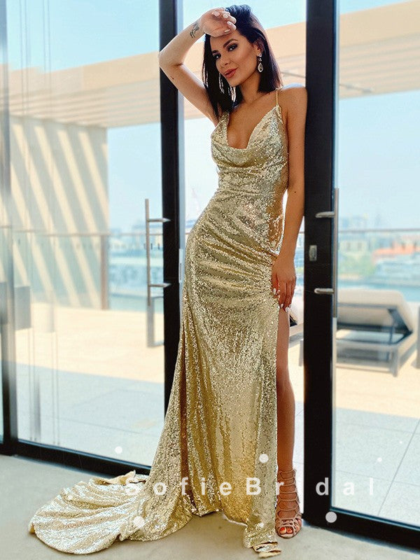 Sheath Spaghetti Straps Split Side Gold Sequin Cheap Long Prom Dresses,SFPD0050