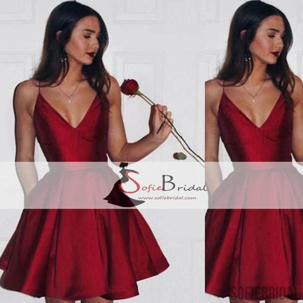 Simple Spaghetti Red Satin Short Prom Dresses, Homecoming Dresses, V-neck Prom Dresses, SF0094