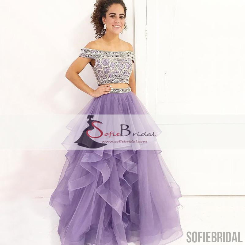 2 Pieces Beaded Top Prom Dresses, Orr Shoulder Purple Organza Prom Dresses, PD0428