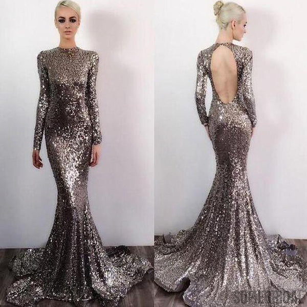 Long Sleeve Sequin Open Back Mermaid Prom Dresses, Shinny Evening Dresses, PD0328