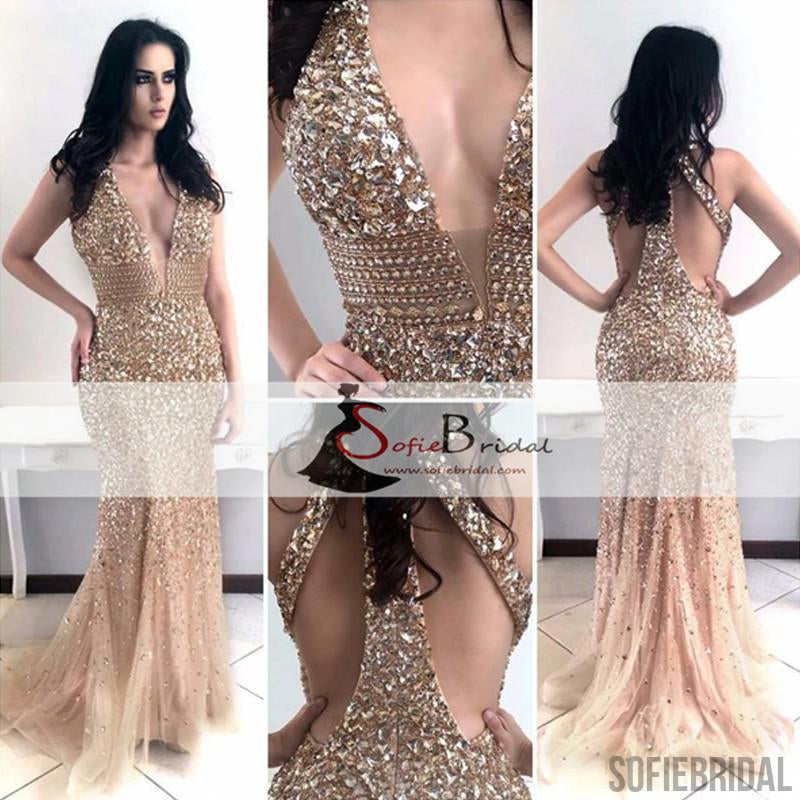 Sexy Deep V-neck Rhinestone Prom Dresses, Mermaid Prom Dresses, Popular Prom Dress, PD0418
