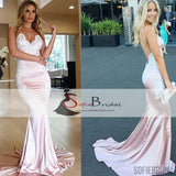 Spaghetti Lace Mermaid Prom Dresses, Sexy Backless Prom Dresses, Cheap Prom Dresses, PD0451
